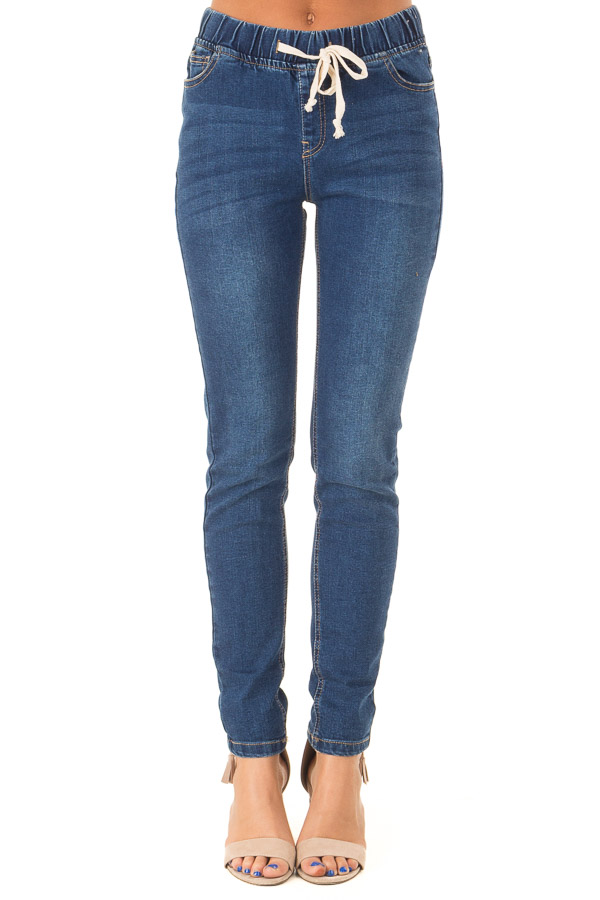 Dark Wash Denim Skinny Jeans with Elastic Tied Waistband front view