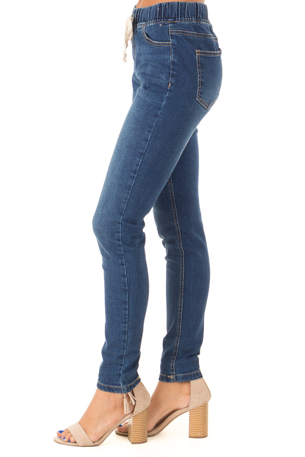 Dark Wash Denim Skinny Jeans with Elastic Tied Waistband side view