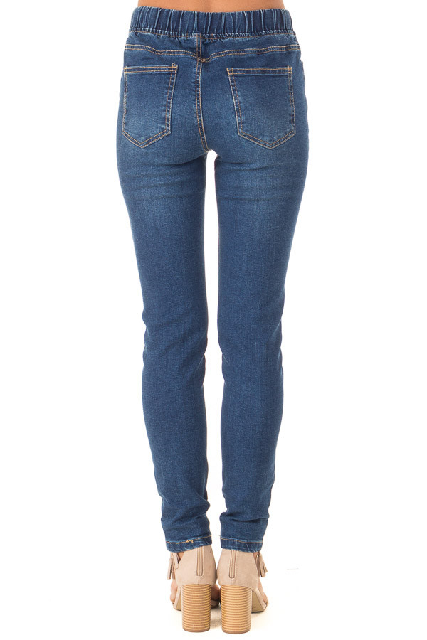 Dark Wash Denim Skinny Jeans with Elastic Tied Waistband back view