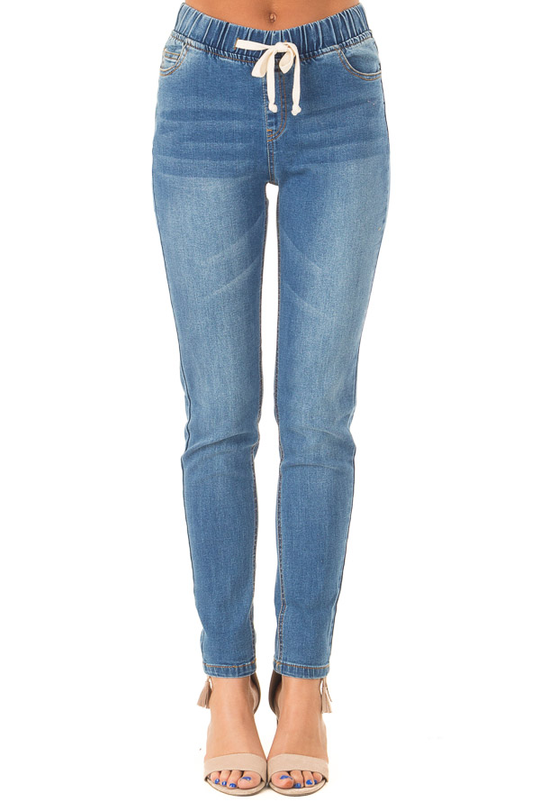 Light Wash Denim Skinny Jeans with Elastic Tied Waistband  front view