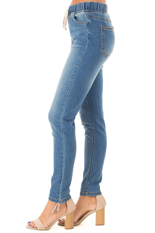 Light Wash Denim Skinny Jeans with Elastic Tied Waistband side view