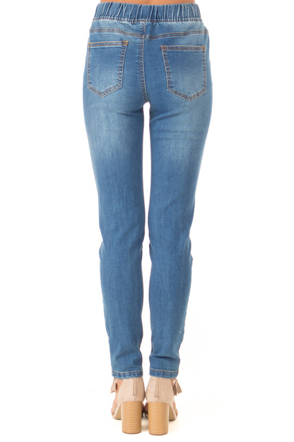 Light Wash Denim Skinny Jeans with Elastic Tied Waistband back view