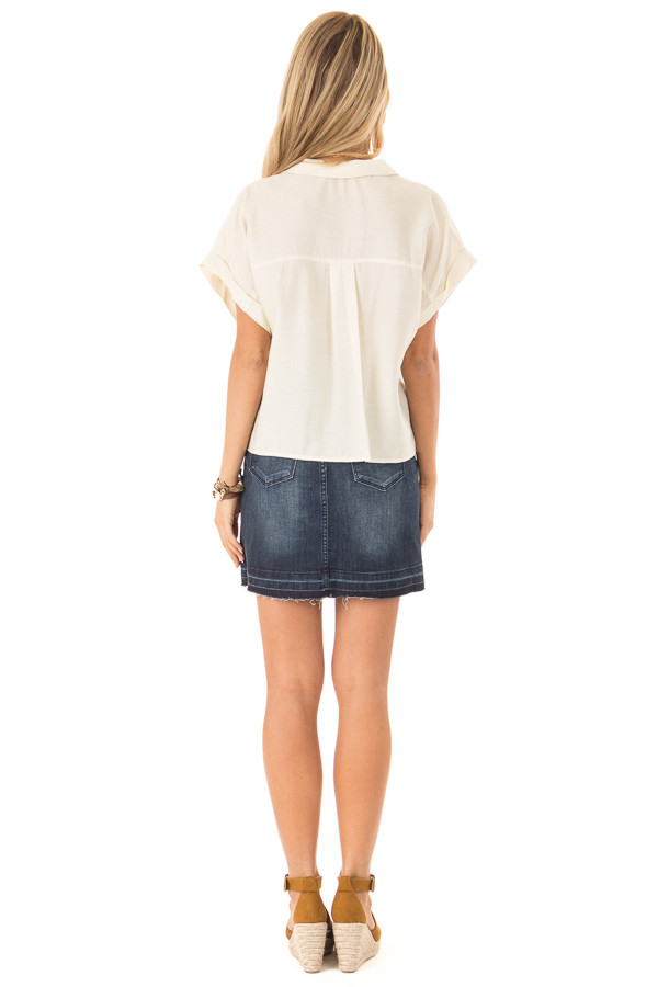 Cream Button Up Short Sleeve Blouse with Pocket Details back full body