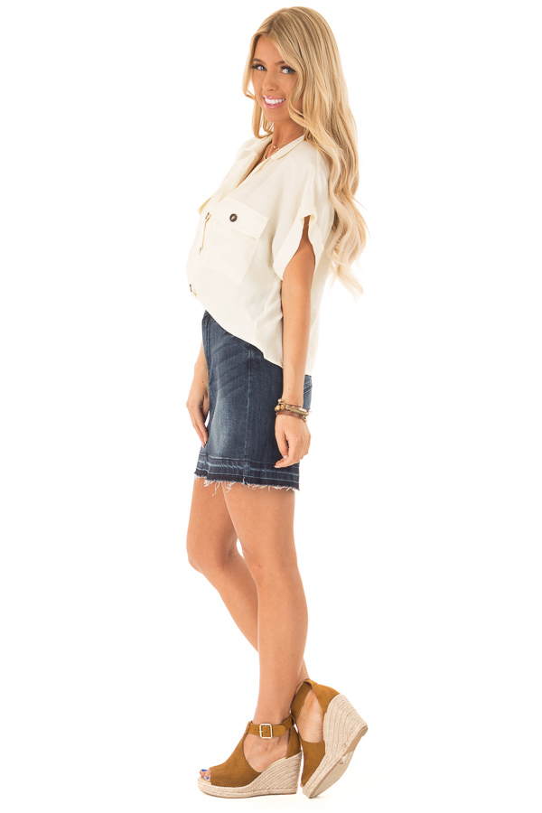 Cream Button Up Short Sleeve Blouse with Pocket Details side full body