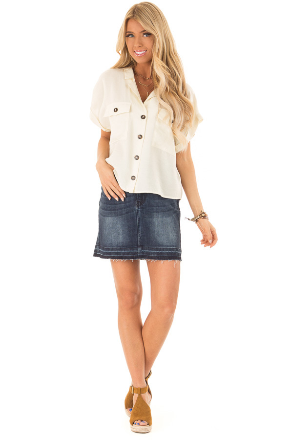 Cream Button Up Short Sleeve Blouse with Pocket Details front full body