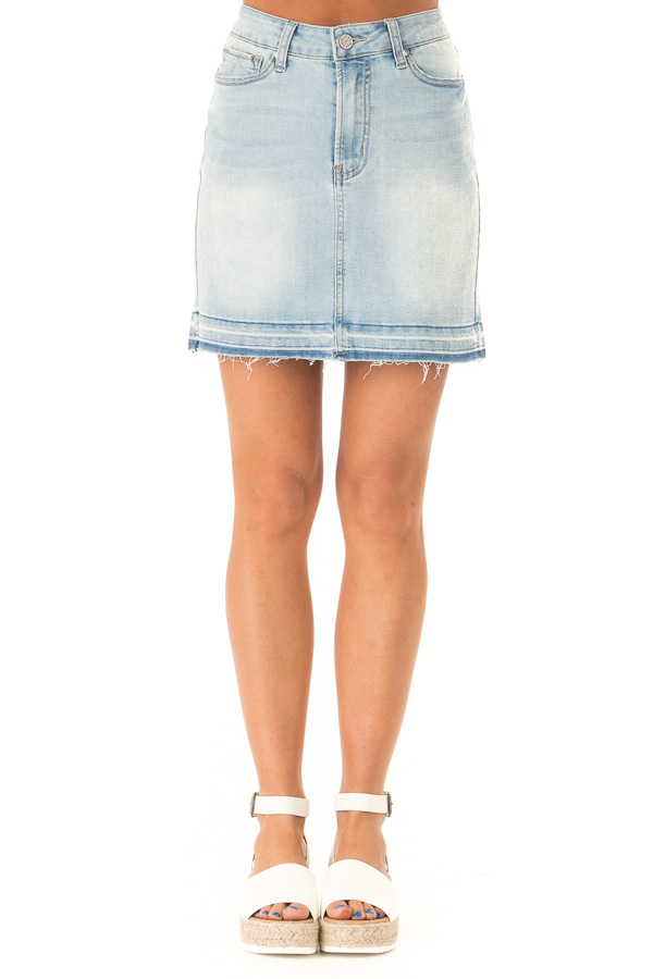 840d1fa5b1371 Light Washed Denim Mini Skirt with Distressed Hem - Lime Lush Boutique