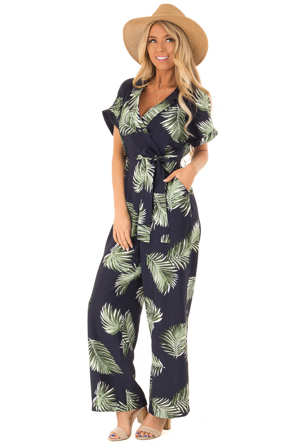 Navy Palm Print Short Sleeve Wrap Style Jumpsuit front full body