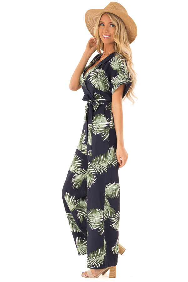 Navy Palm Print Short Sleeve Wrap Style Jumpsuit side full body