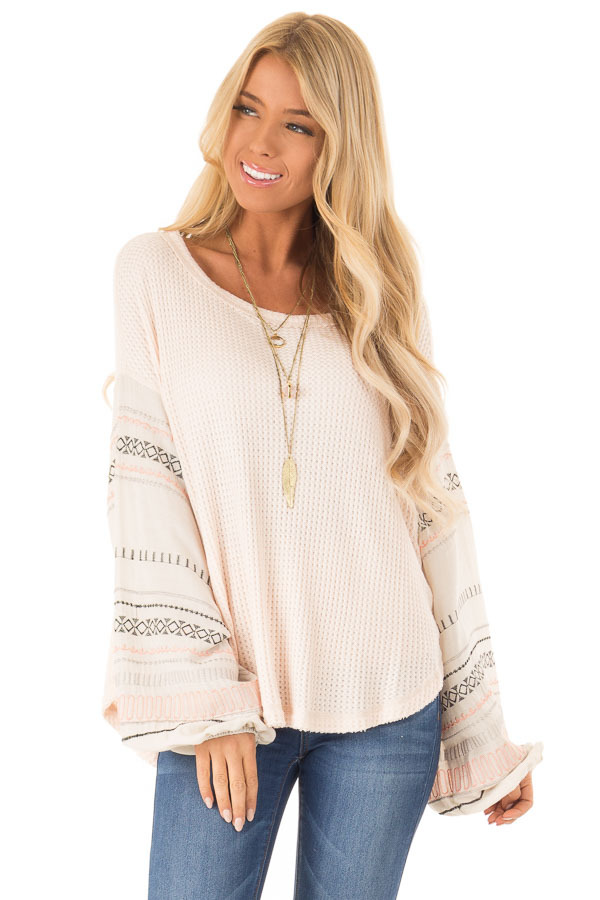 Light Peach Waffle Knit Top with Ivory Embroidered Sleeves front close up