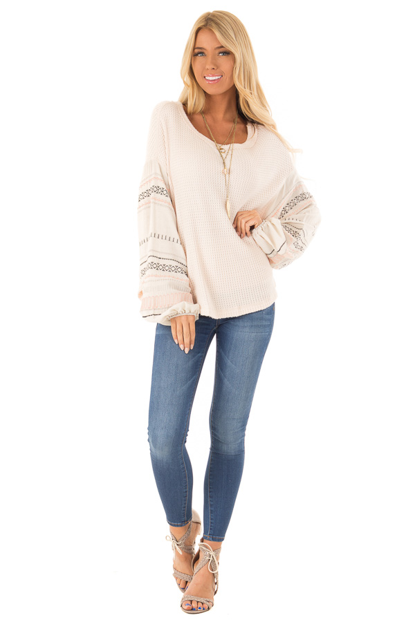 Light Peach Waffle Knit Top with Ivory Embroidered Sleeves front full body