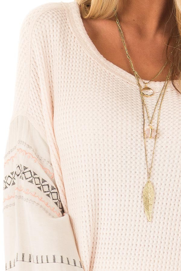 Light Peach Waffle Knit Top with Ivory Embroidered Sleeves detail
