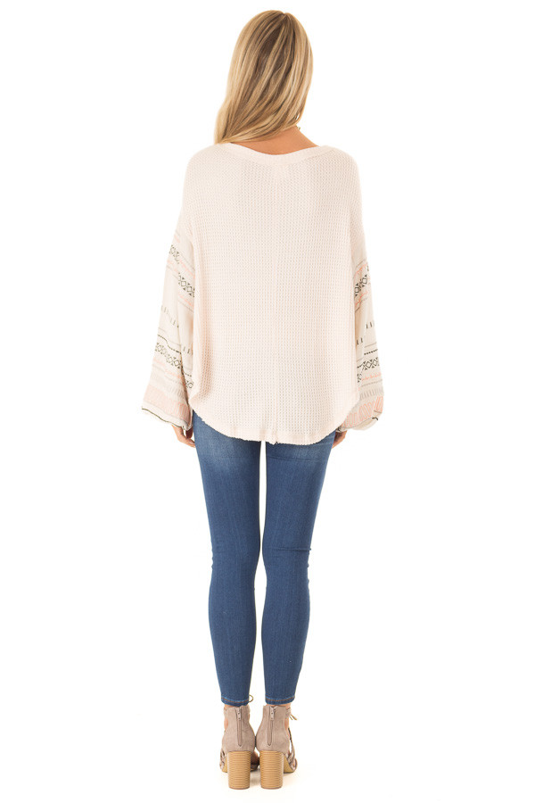Light Peach Waffle Knit Top with Ivory Embroidered Sleeves back full body