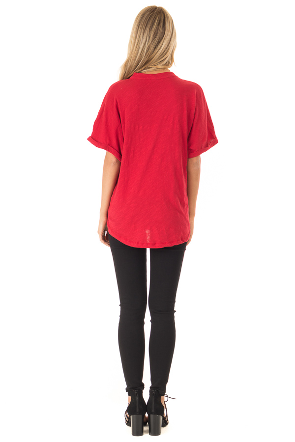 Cherry Red Dolman Style V Neck Top with Short Cuffed Sleeves back full body