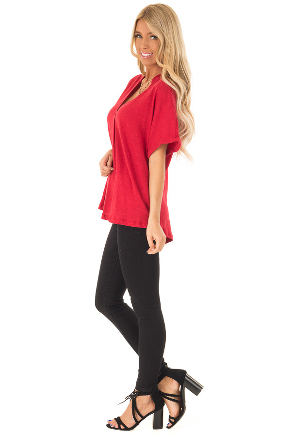 Cherry Red Dolman Style V Neck Top with Short Cuffed Sleeves side full body