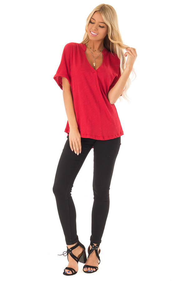 Cherry Red Dolman Style V Neck Top with Short Cuffed Sleeves front full body