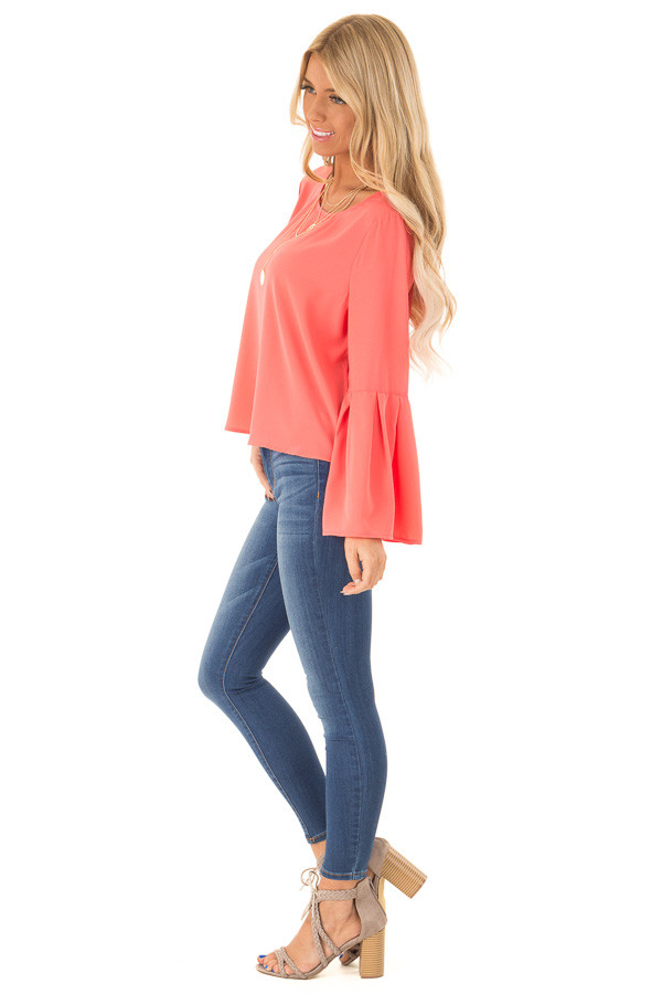 Bright Coral Blouse with Back Keyhole Detail side full body