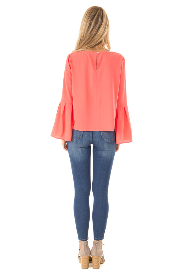 Bright Coral Blouse with Back Keyhole Detail back full body