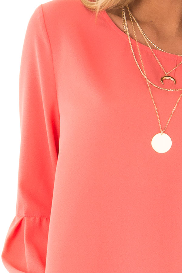 Bright Coral Blouse with Back Keyhole Detail detail