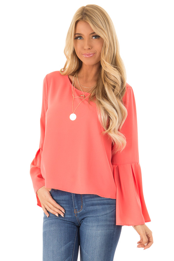 Bright Coral Blouse with Back Keyhole Detail front close up