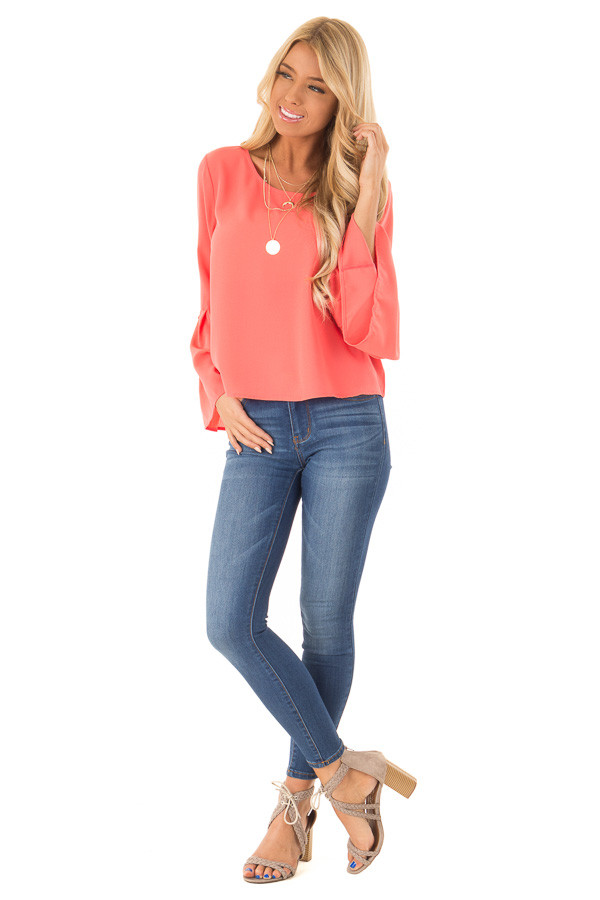 Bright Coral Blouse with Back Keyhole Detail front full body