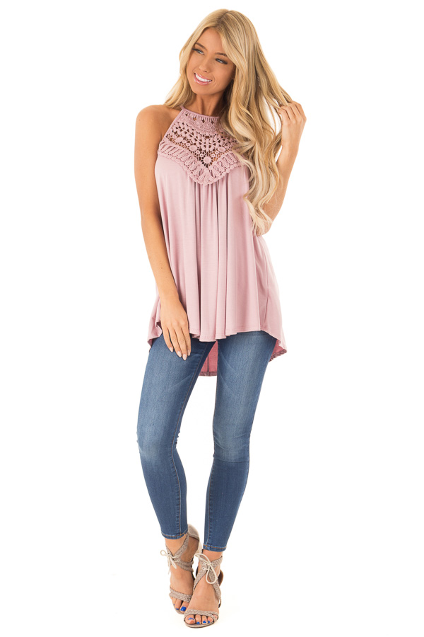 Dusty Blush Tank Top with Sheer Lace Chest front full body