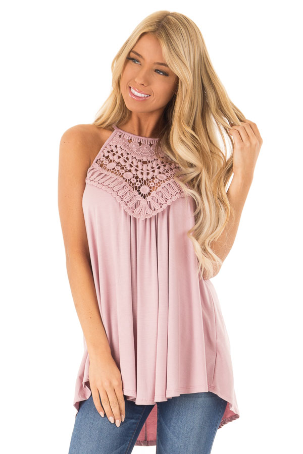 Dusty Blush Tank Top with Sheer Lace Chest front close up