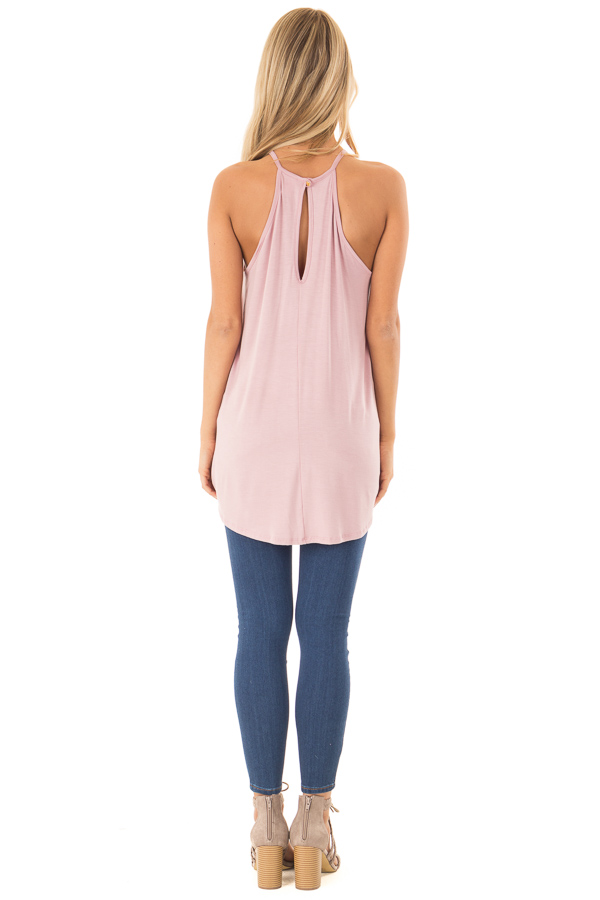 Dusty Blush Tank Top with Sheer Lace Chest back full body