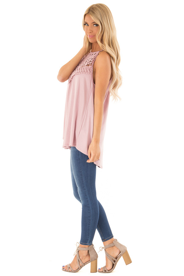 Dusty Blush Tank Top with Sheer Lace Chest side full body