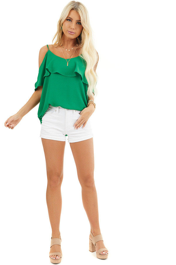 Kelly Green Cold Shoulder Tank Top with Ruffle Detail front full body