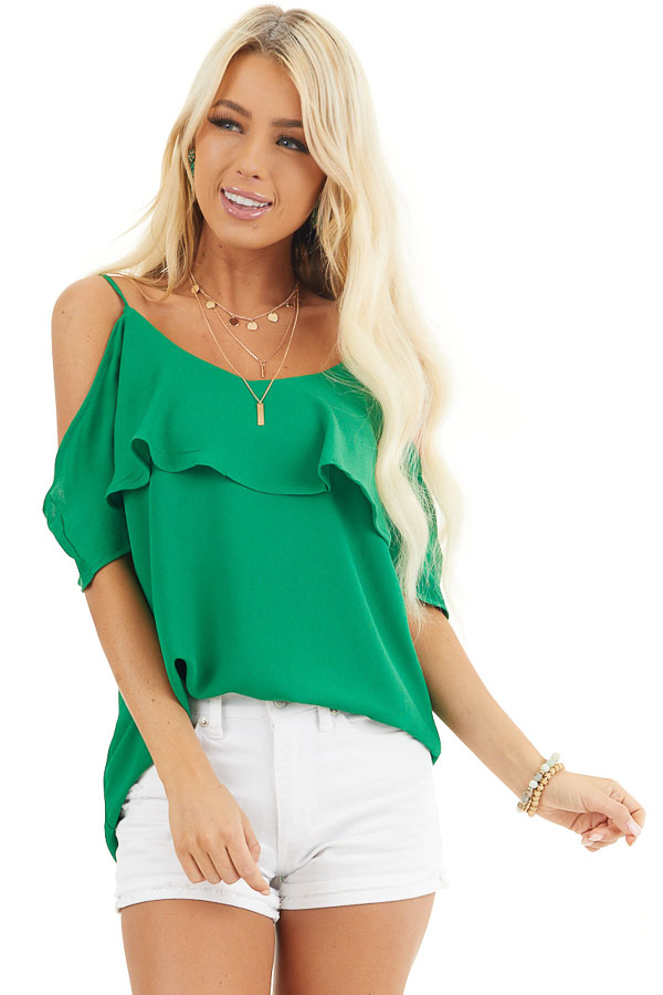 Kelly Green Cold Shoulder Tank Top with Ruffle Detail front close up