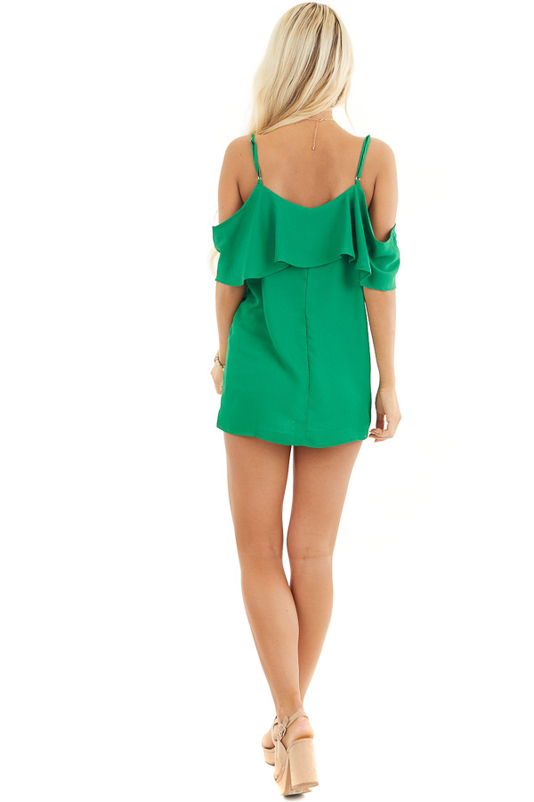 Kelly Green Cold Shoulder Tank Top with Ruffle Detail back full body
