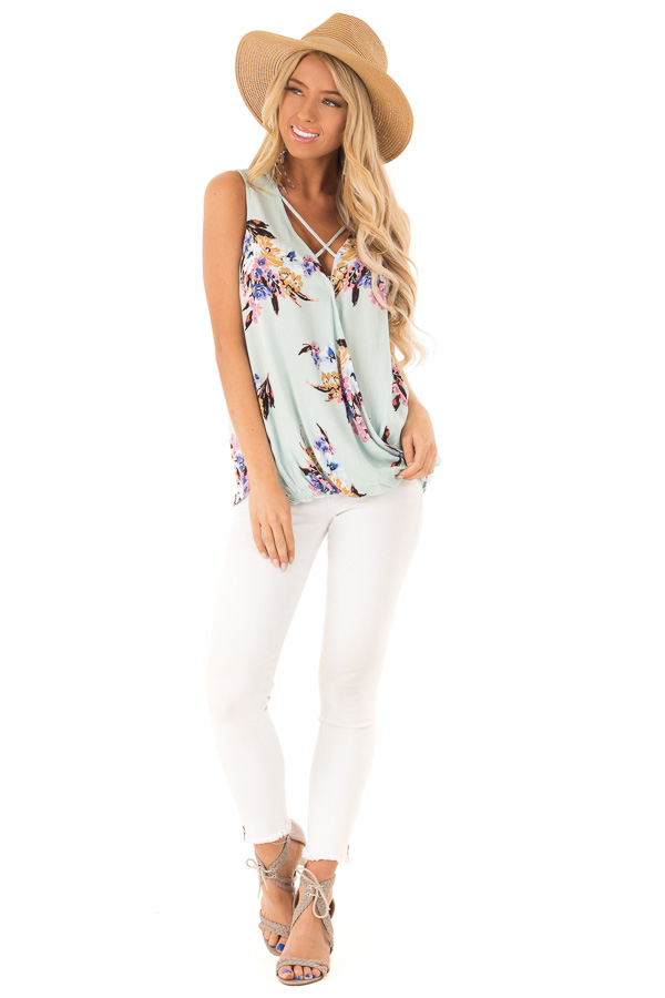 Mint Floral Criss Cross Tank with Front Wrap front full body