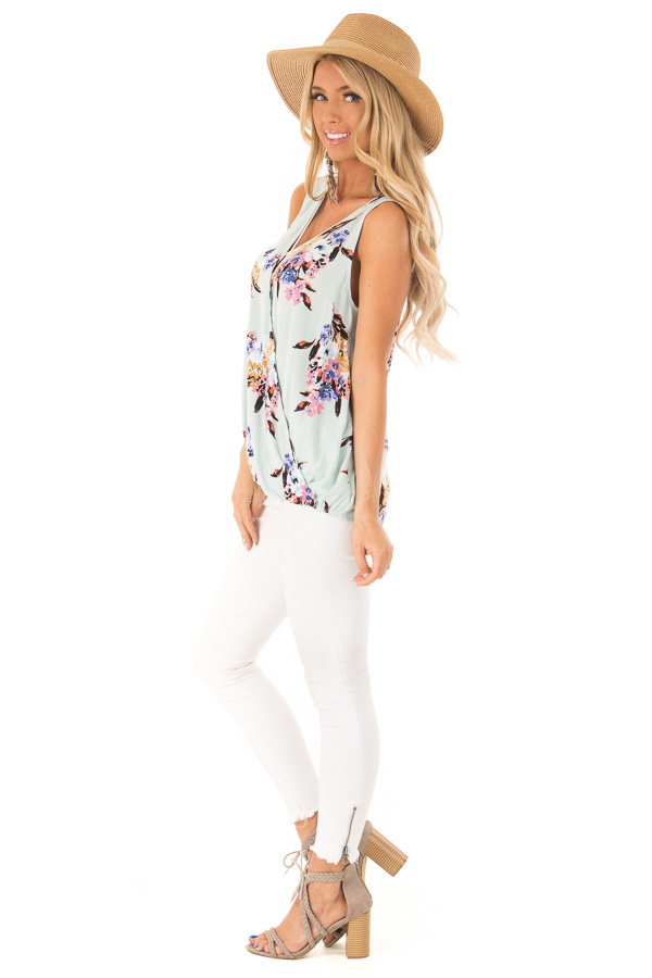 Mint Floral Criss Cross Tank with Front Wrap side full body