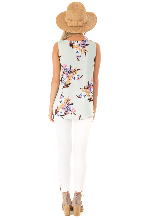 Mint Floral Criss Cross Tank with Front Wrap back full body