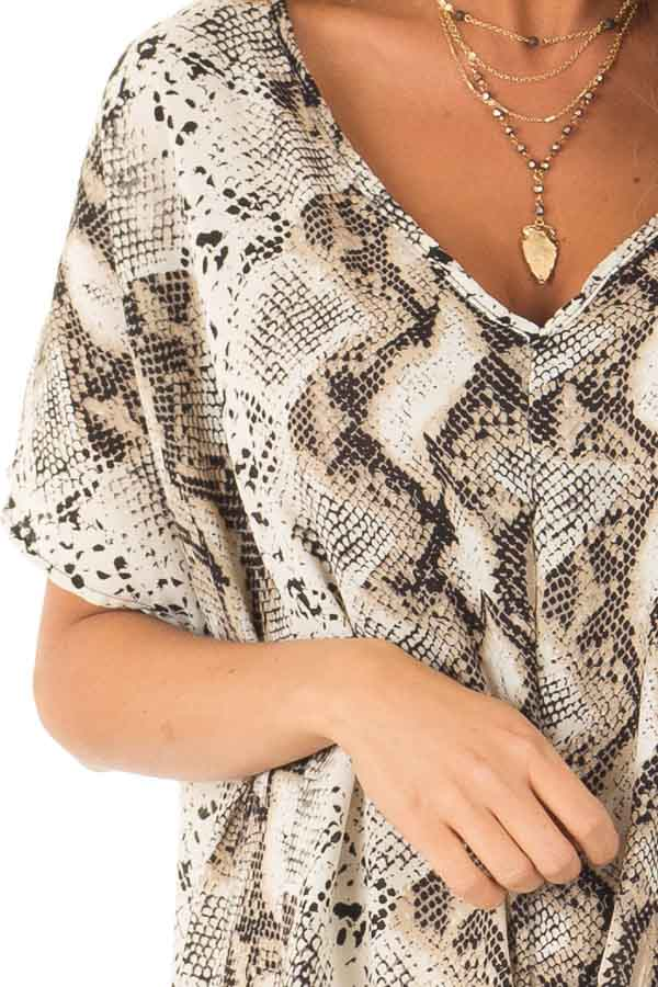 Taupe Snake Skin Short Sleeve Top with Front Twist Detail detail