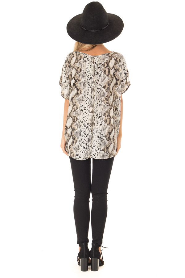 Taupe Snake Skin Short Sleeve Top with Front Twist Detail back full body