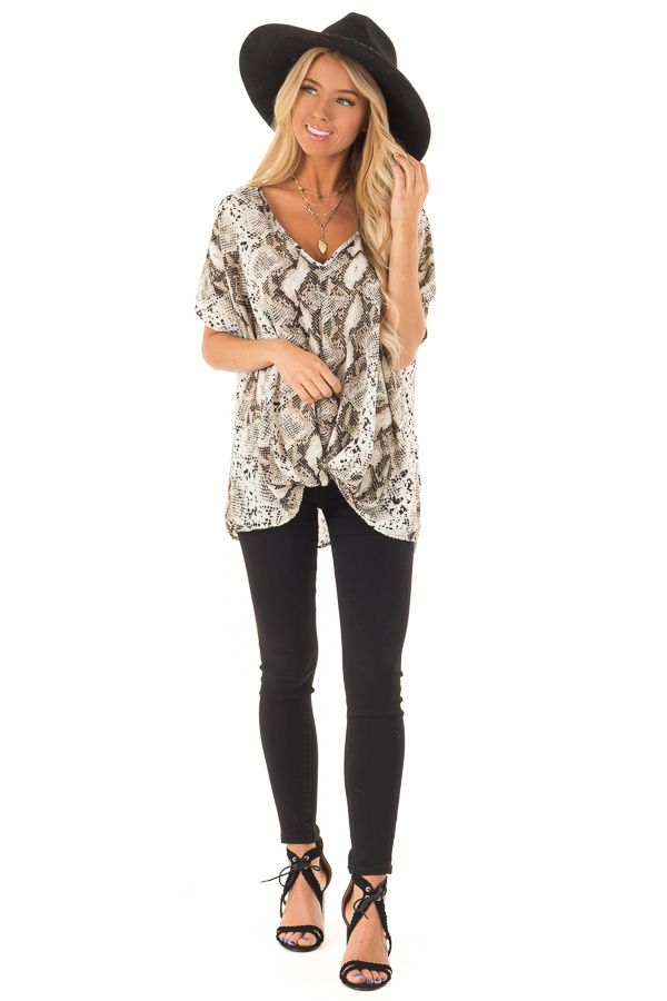 Taupe Snake Skin Short Sleeve Top with Front Twist Detail front full body