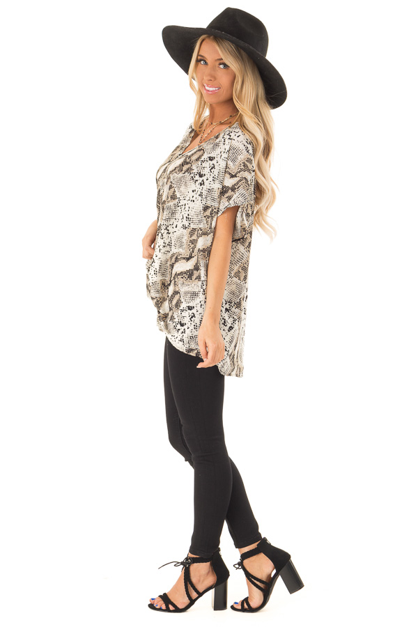 Taupe Snake Skin Short Sleeve Top with Front Twist Detail side full body