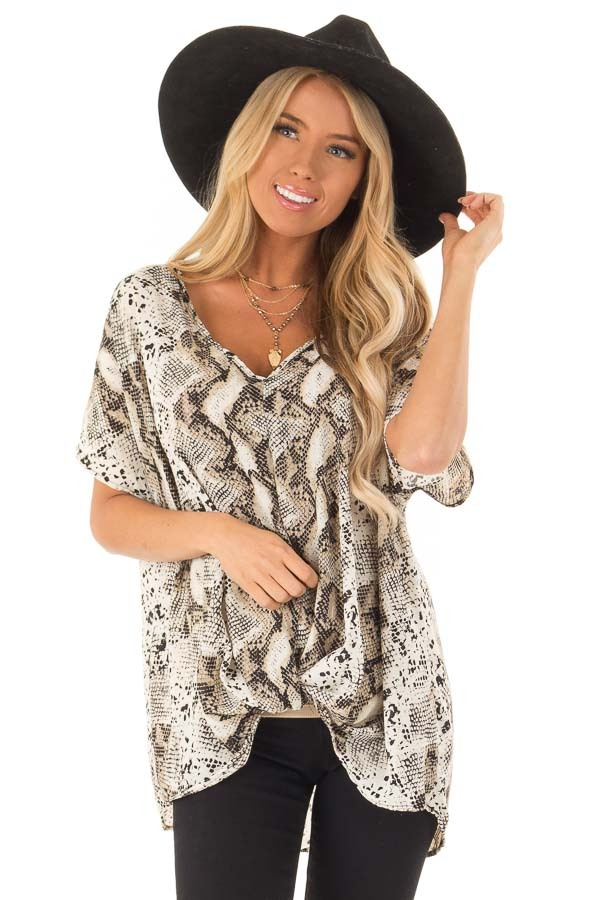 Taupe Snake Skin Short Sleeve Top with Front Twist Detail front close up