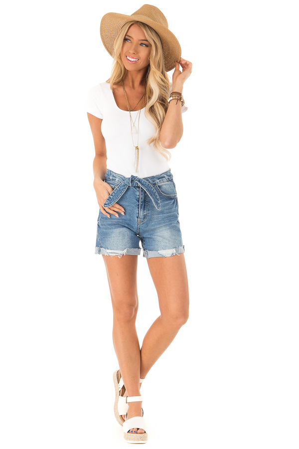 Medium Wash Front Tie High Waisted Distressed Denim Shorts front full body