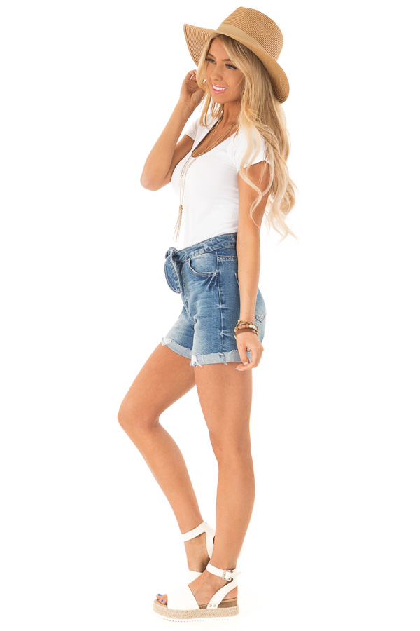 Medium Wash Front Tie High Waisted Distressed Denim Shorts side full body