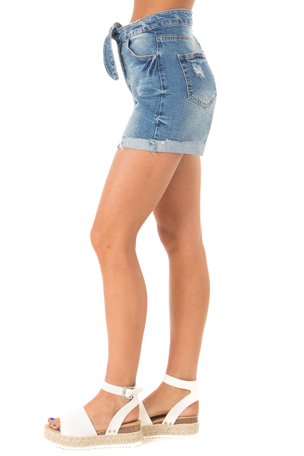 Medium Wash Front Tie High Waisted Distressed Denim Shorts side view