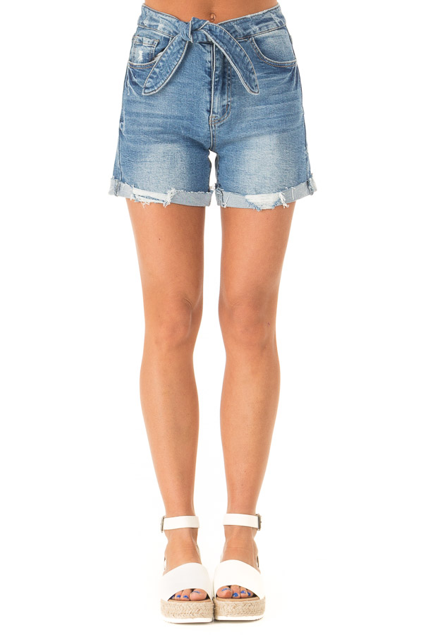 Medium Wash Front Tie High Waisted Distressed Denim Shorts front view