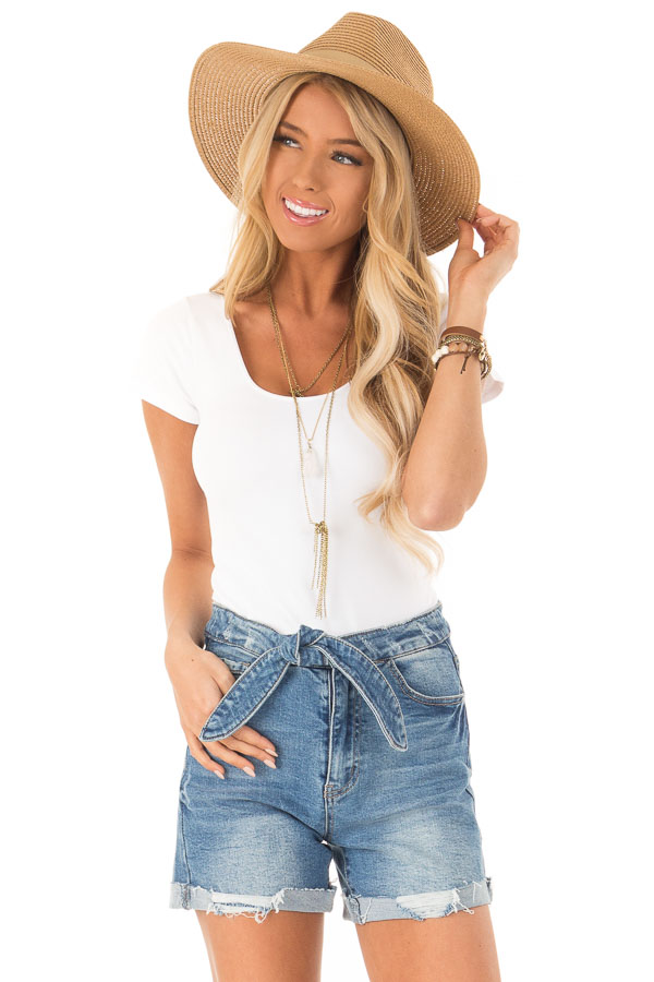 Medium Wash Front Tie High Waisted Distressed Denim Shorts front close up