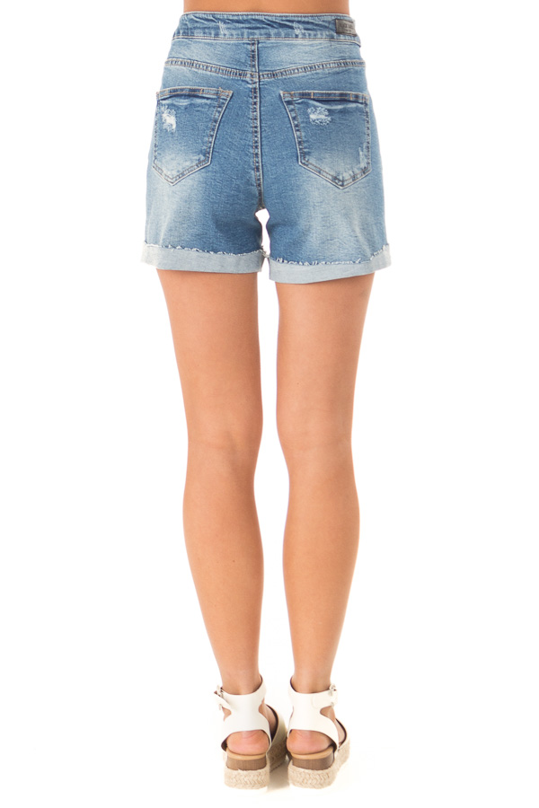 Medium Wash Front Tie High Waisted Distressed Denim Shorts back view