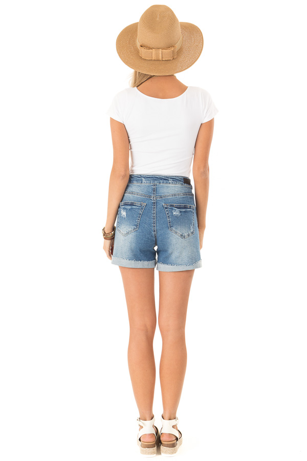 Medium Wash Front Tie High Waisted Distressed Denim Shorts back full body