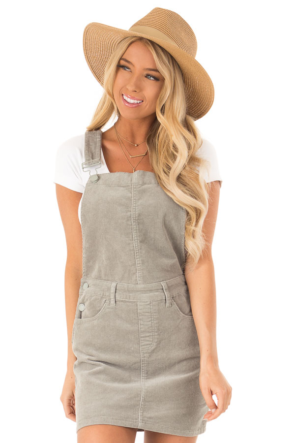 f2363bcfa318 Sage Grey Corduroy Overall Mini Dress with Front Pockets - Lime Lush ...