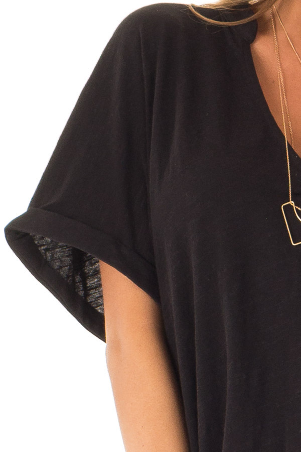 Black Dolman Style V Neck Top with Short Cuffed Sleeves detail