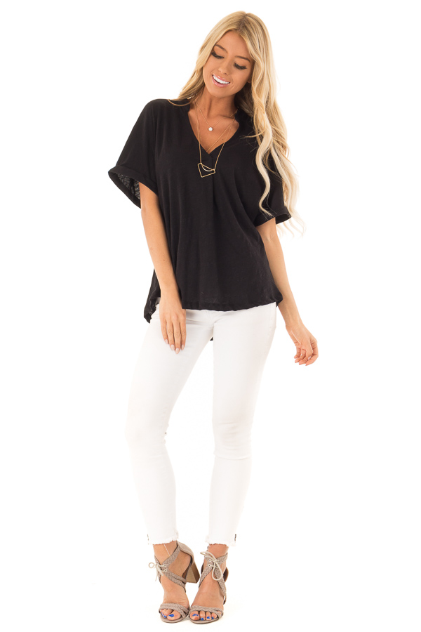 Black Dolman Style V Neck Top with Short Cuffed Sleeves front full body