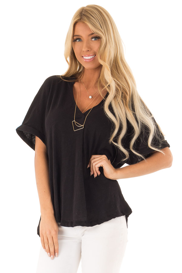 Black Dolman Style V Neck Top with Short Cuffed Sleeves front close up